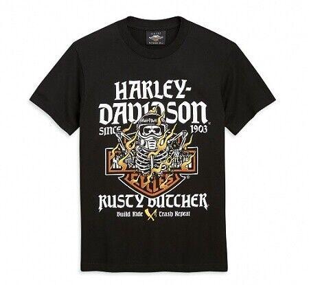 Mens HARLEY DAVIDSON X Rusty Carnicero Manga Corta Camiseta llamas