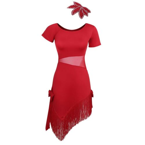 #M-4XL Women Latin Dance Dress Ballroom Salsa Tango Cha Cha 1920s Gatsby Dresses