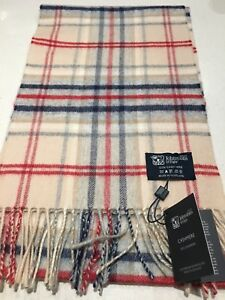 Johnstons of Elgin pure cashmere scarf new Charcoal Gold /& Turquoise Smart