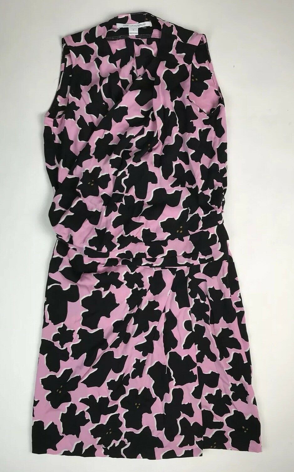 Diane Von FURSTENBURG 0 0 0 Women's Duran Print Faux Wrap Dress Silk Sleeveless Pink f510fe