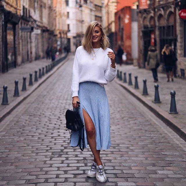 H&M Blau Floral Daisy Midi Skirt with Front Split Größe 14 16 EUR 42 44 BN