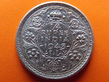 "George VI King Emperor 1/4 Rupee ""1943"" Calcutta Mint Original Silver Coin"