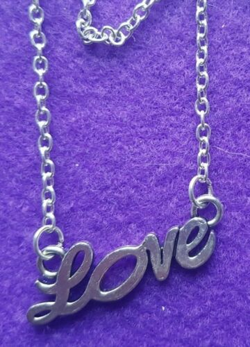 """Silver Plated Necklace Chain /""""LOVE/"""" Pendant With or Without Gems gift bag"""
