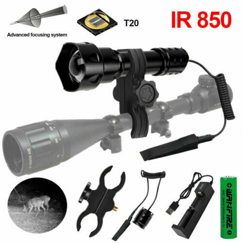 T50 710 IR 850nm Laser Infrared 10W LED Hunting Light Night Vision Lamp zoombar
