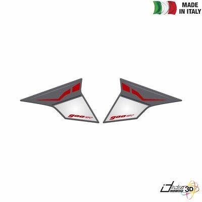 Nero//Bianco RESINATO EFFETTO 3D compatibile con Yamaha MT-09 Tracer PARASERBATOIO ADESIVO