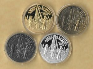 Details about AMERICA UNITES 9-11 WORLD TRADE CENTER FLAG SILVER FINISH  CHALLENGE COIN