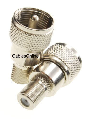 2-Pack UHF Male Plug to F-Type Female Jack Adapter CablesOnline RF-U112-2