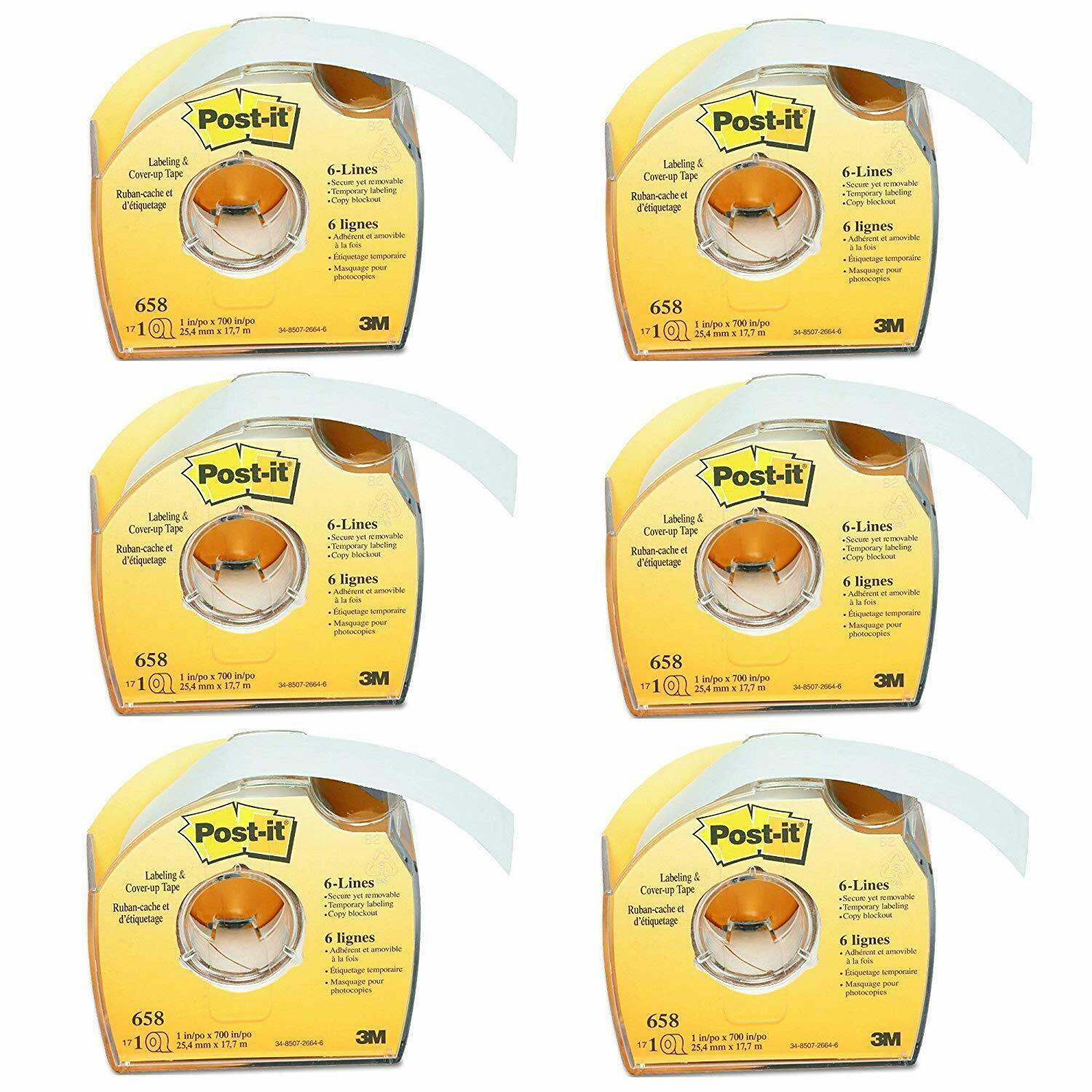 1//6-inch x 700 Inches Post-it Labeling and Cover-Up Tape 651