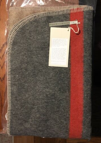Alicia Adams Soft Alpaca Wool Field Blanket TaupeGrayPaprika 51x71 NEW Unused