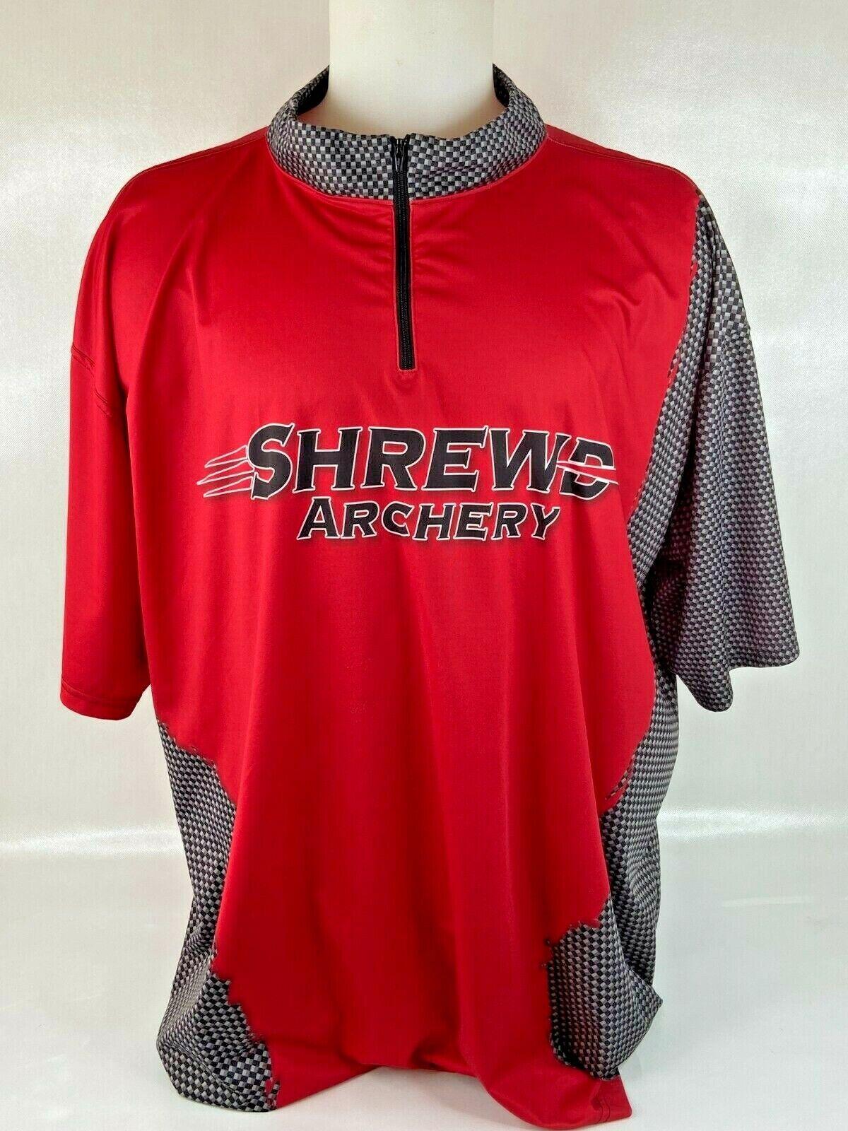 Shrewd Archery Men 4XL Jersey Zip Collar Shirt Red Black Shoot Atomic