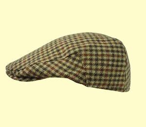 59b8c33fdc89 Tweed Flat Cap 100% Wool Check Cap Tweed Farmer Cap Shooting Cap XS ...