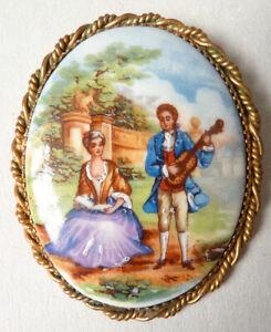 Grosse Broche Peinture Miniature Porcelaine De Limoges