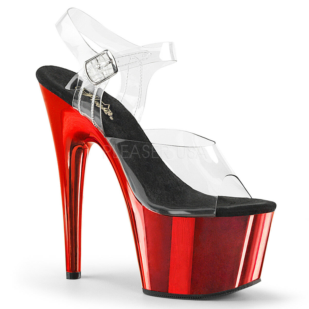 PLEASER Sexy Sexy Sexy 7  Heel rouge Chrome Platform Pole Dancer Stripper Clear femmes chaussures 32e3f9