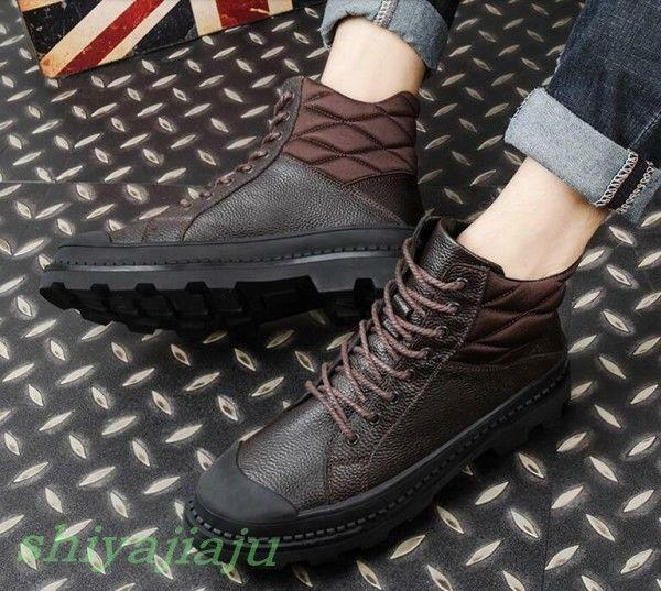 Fashion Men's Warm Lace Up Leather Snow Boots Casual Winter Cowboy Western R809