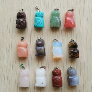 Wholesale 12pcs//lot Fashion mixed Natural stone Carved Dog shape Charm Pendants