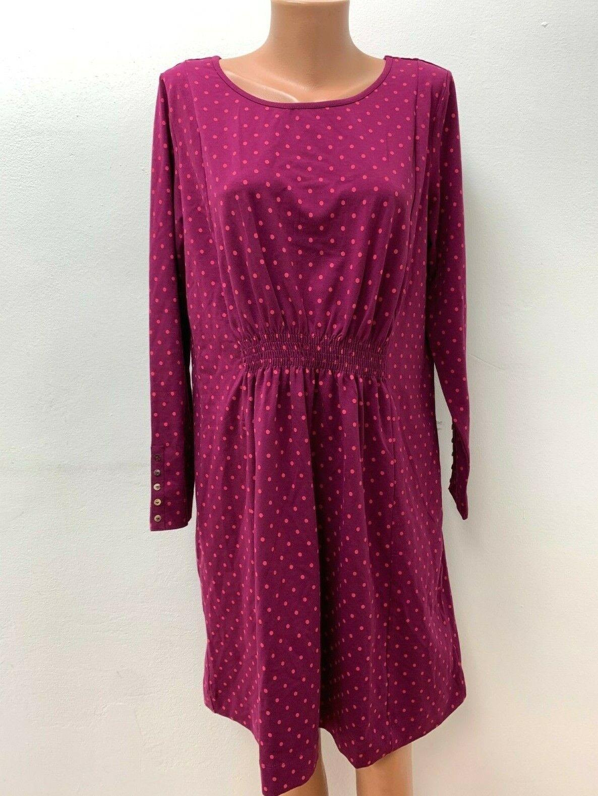 DEERBERG Gr.L / XL Stretch Kleid Jersey Rosa Magenta gepunktet Langarm