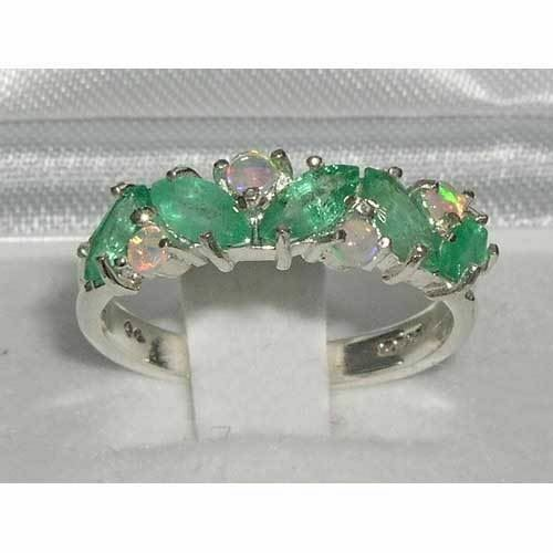 14ct White gold Natural Emerald & Opal Womens Eternity Ring - Sizes J to Z