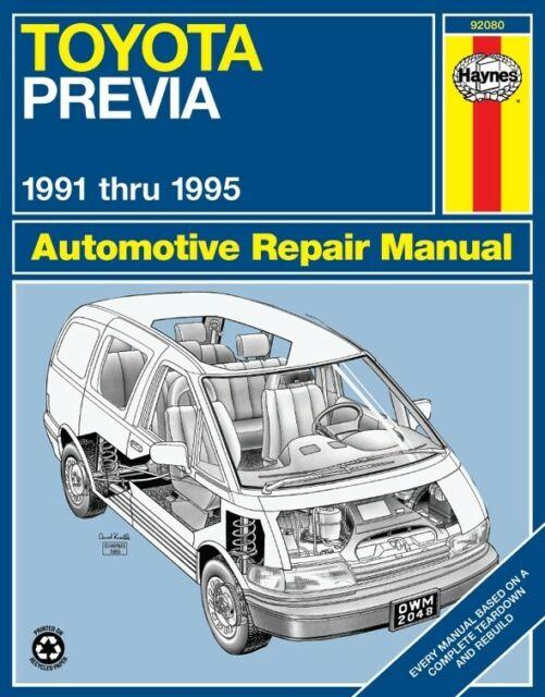 Bishko OEM Maintenance Owner's Manual Bound for Toyota Previa 1991 ...