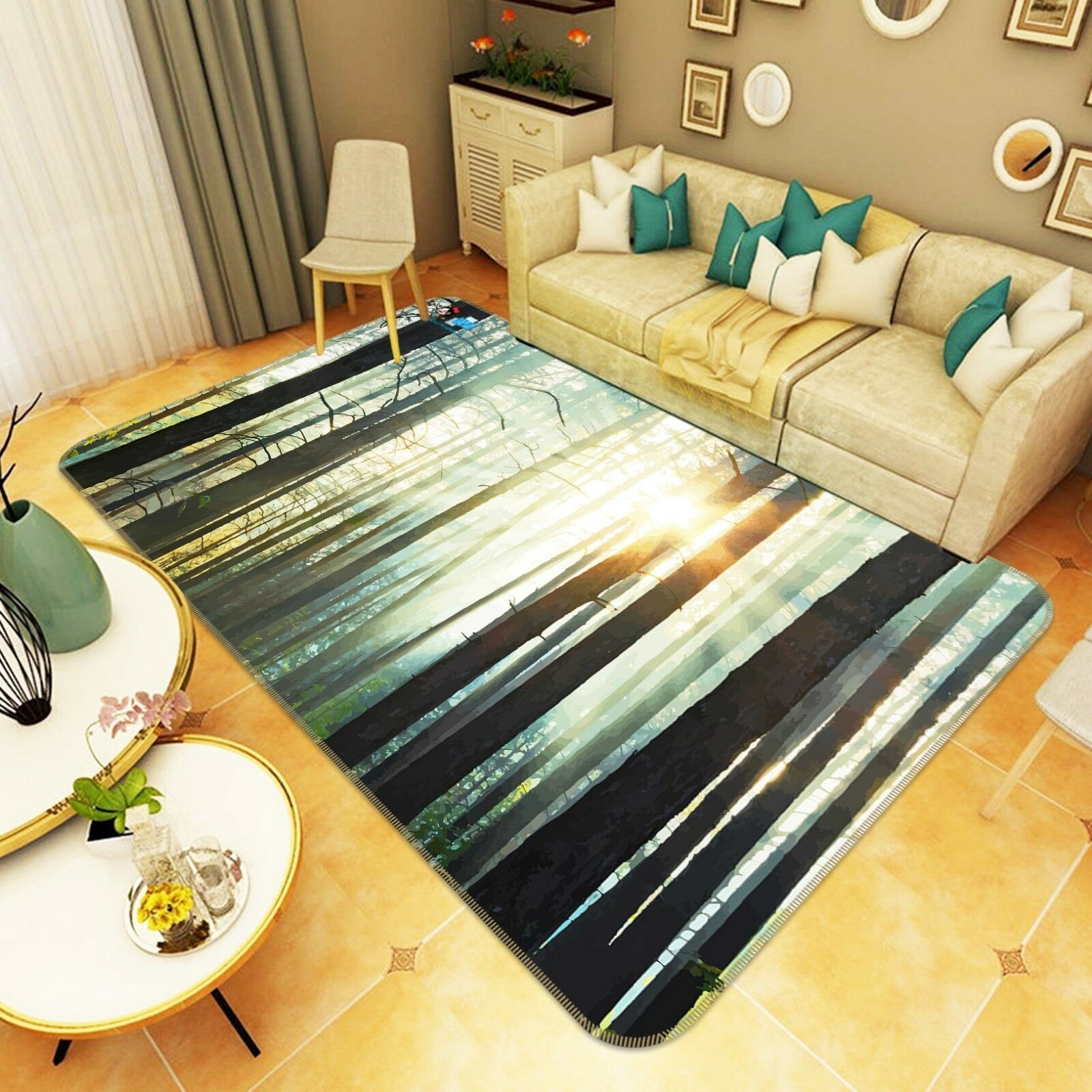 3D Forest Sunshine 302 Non Slip Rug Mat Room Mat Quality Elegant Photo Carpet AU