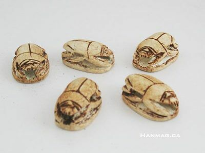 SET of 10 Egyptian Ceramic Stone Scarab Beetles + Hand Carved Good Luck Charms