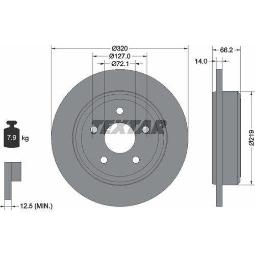 2x TEXTAR BREMSSCHEIBEN Ø320mm SET HINTEN JEEP GRAND CHEROKEE III 3.0 3.7 4x4 V6