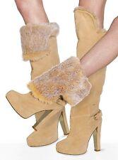 Victoria's Secret Colin Stuart Faux-Fur Cuff Tan Suede Platform High Boots 8.5 B