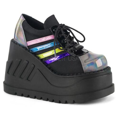 Black Rainbow Platform Sneaker Boots 90s Festival Rave Demonia Womans Shoes