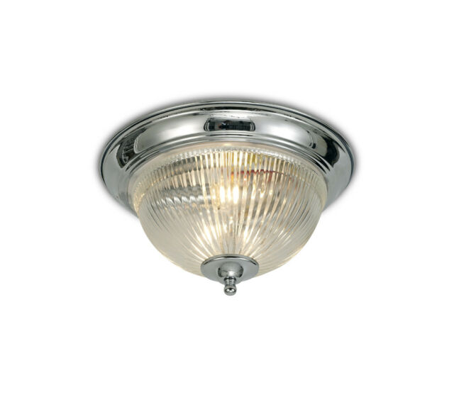 Art Deco Flush Ceiling Light In Polished Chrome With Clear Glass Diffuser 2x40w For Sale Online Ebay