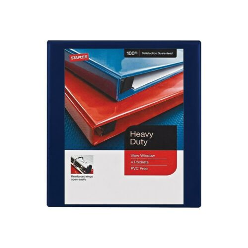 Staples Heavy-Duty 1-Inch Round-Ring View Binder Navy 976068 26326
