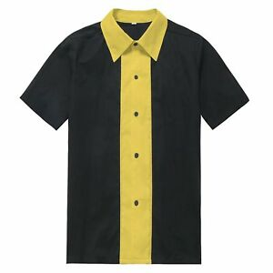 Rockabilly-60-039-s-Mens-Classic-Shirt-Rock-n-Roll-Club-Wear-Causal-Bowling-Shirt