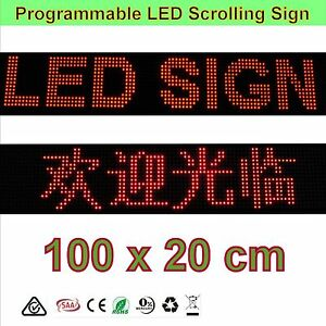 LED Sign - Semi-outdoor Programmable 100 x20cm LED Signs Scrolling
