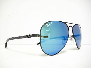 5bed4a8cbb new RAY BAN Gunmetal Blue Mirror Polarized Chromance 58mm RB8317CH ...
