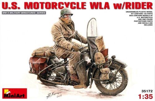 Miniart 1/35 U.S. Motorcycle WLA w/Rider