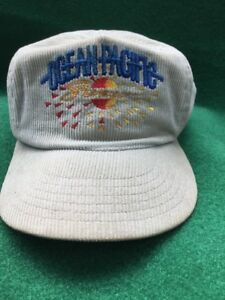 Vintage-OP-Ocean-Pacific-Corduroy-Zipper-Cap-Hat-Embroidered-Beige-USA-O-P