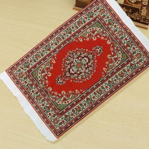 10X17CM Red Rot Dollhouse Miniature 1:12 Scale Floor Carpet Rug Q4F8