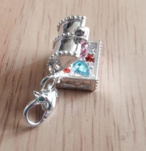 925 Silver Plated Treasure Chest Clip on Charm Jewel Box in velvet gift bag