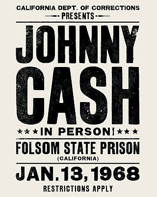Johnny Cash Concert Poster 23 x 35 San Quentin State Prison Man In Black 2//24//69