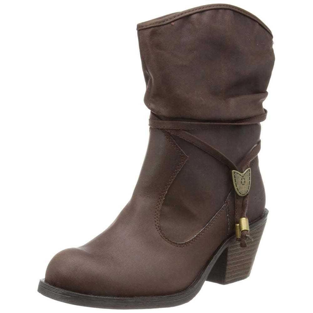 Ladies Girls Rocket Dog Reed Rider Fabric Cowboy Ankle Boot Black Brown