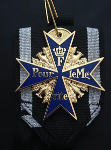 MUSEUM-QUALITY-WWI-GOLD-PLATED-GERMAN-BLUE-POUR-LE-MERITE-MILITARY-MEDAL