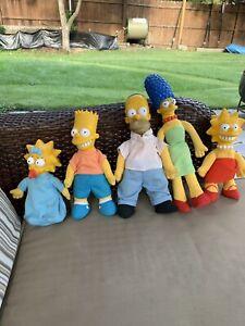 Vtg-Simpsons-Bart-Simpson-Dolls-Family-Lot-Of-5-1990-Toy-T30