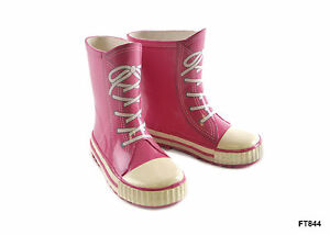 Kids Pink Lace Printed Trainer Style Wellies / Wellington Boots