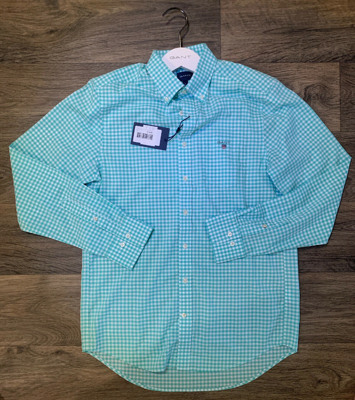 New herren Gant Long Sleeve Button Down Gingham Dress hemd, Größe S, Pool Grün