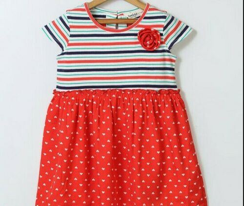 Girls BE boutique dress 7 8 9 10 NWT vintage 40s 50s hearts July 4th red