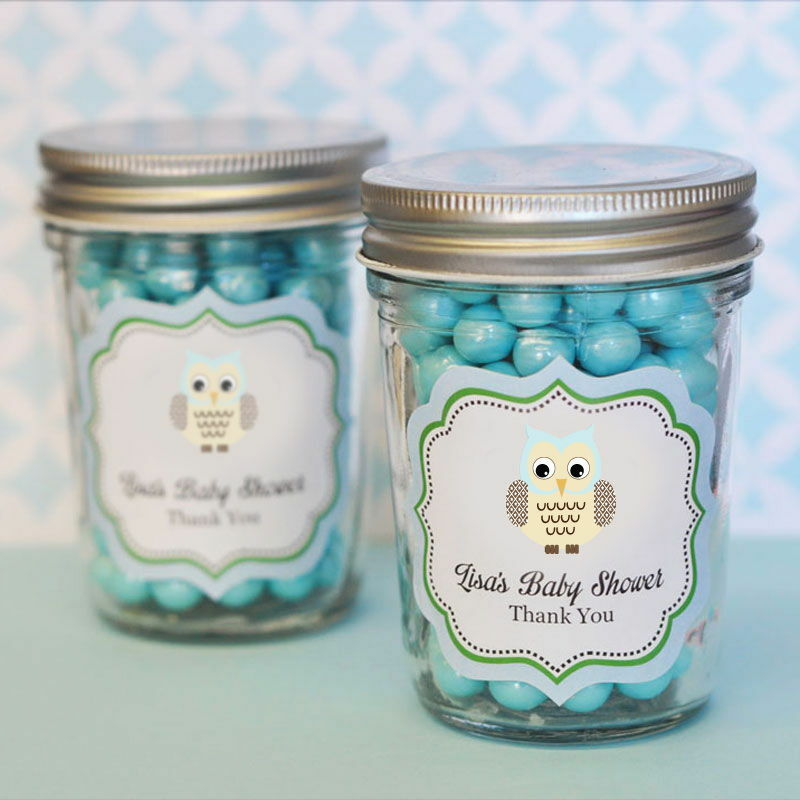 48 Personalized Blau Owl Theme Mini Mason Jars Baby Shower Favors
