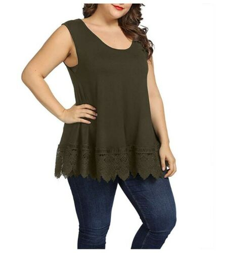 Women Plus Size Summer Lace Tank Tops Casual Flowy Loose Sleeveless Tunic 1X-4X