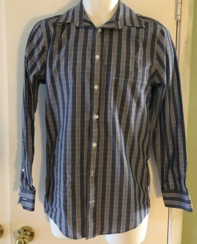 Stafford Travel fitted LongSleeve Oxford Plaid Dress Shirt SIZE 14 12 3233