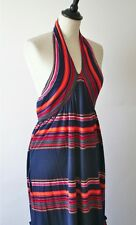 Christian Dior blue halter-neck/ empire waist cotton jersey dress - UK 10/12