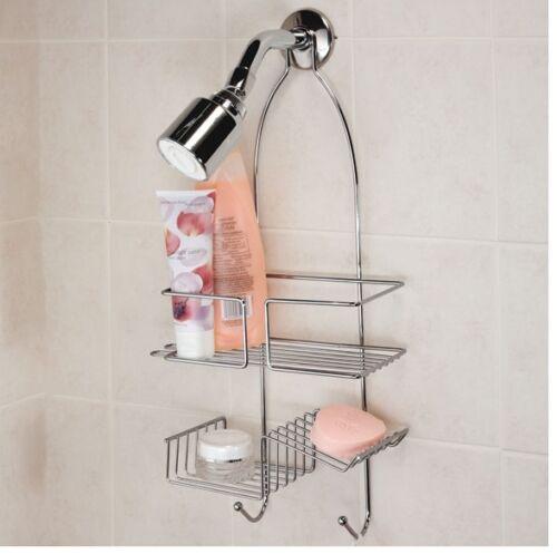 Chrome Shower Caddy Shelves For Shampoo Hangs Conveniently Over Shower Head