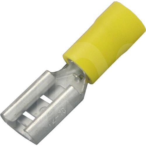 PVC Isolierung Top Qualität Flachsteckhülsen 9,5 x1,2mm für Kabel /> 2,5 bis 6mm