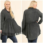 UMGEE USA Long Sleeve Dark Gray High Low Top Blouse Tunic Boho Plus XL 1X 2X